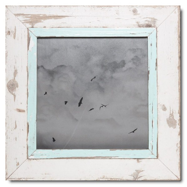 Square distressed wooden picture frame for photo format A3 square