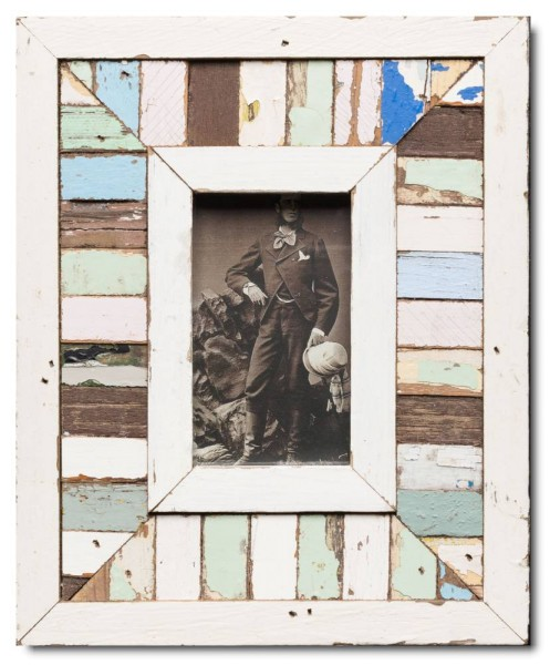 Mosaic distressed wooden picture frame for picture format A6