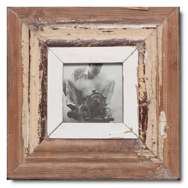 Square rustic timber photo frame for photo format A6 square