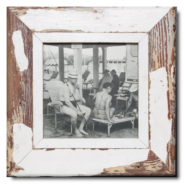 Square rustic timber photo frame for picture format 21 x 21 cm