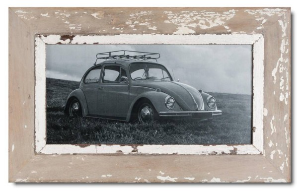 Panoramic reclaimed wood picture frame for photo format A3 panoramic