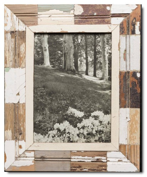 Mosaic reclaimed wood photo frame for photo size A4