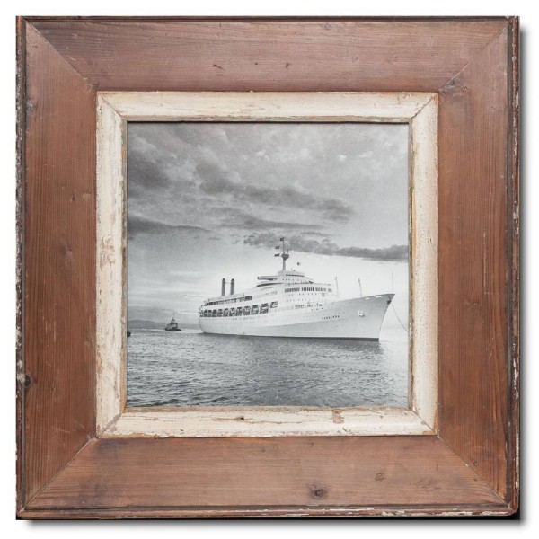 Square Reclaimed wood frame for photo format 21 x 21 cm