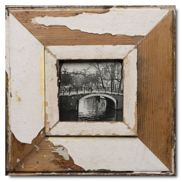 Square rustic timber frame for photo format 10,5 x 10,5 cm