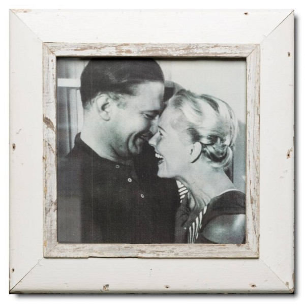 Square reclaimed wood picture frame for photo format 29,7 x 29,7 cm