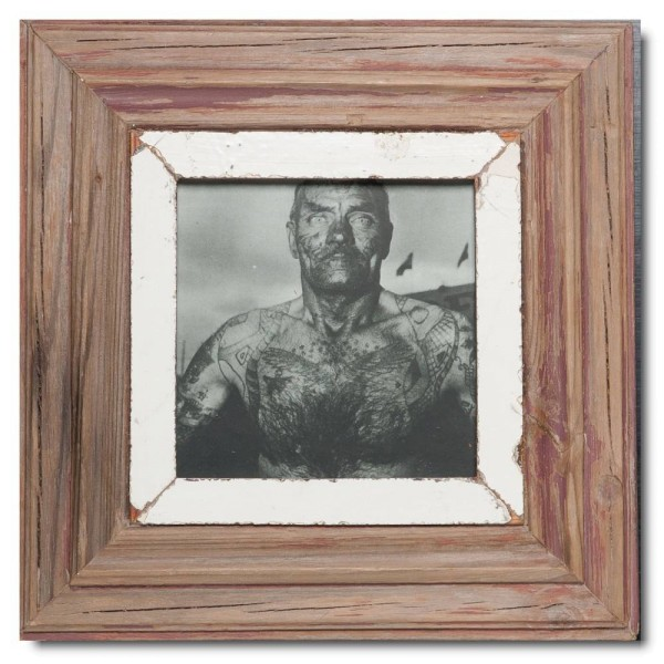 Square distressed wooden frame square for picture size A5 square