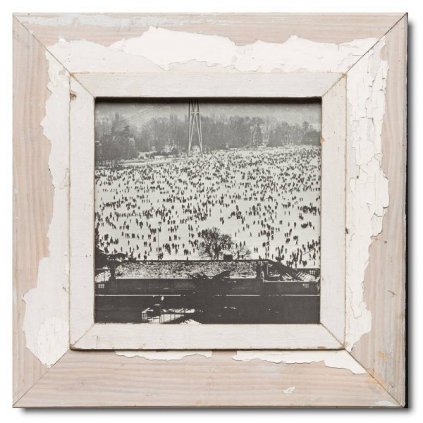 Square distressed wooden picture frame for photo format 21 x 21 cm