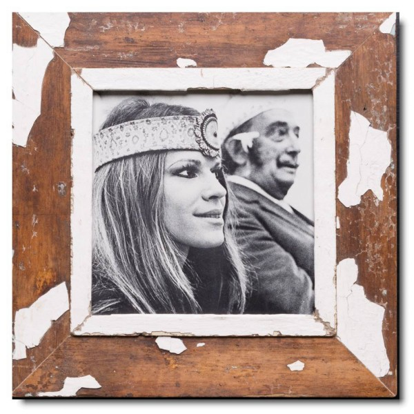 Square rustic timber picture frame for picture format A4 square