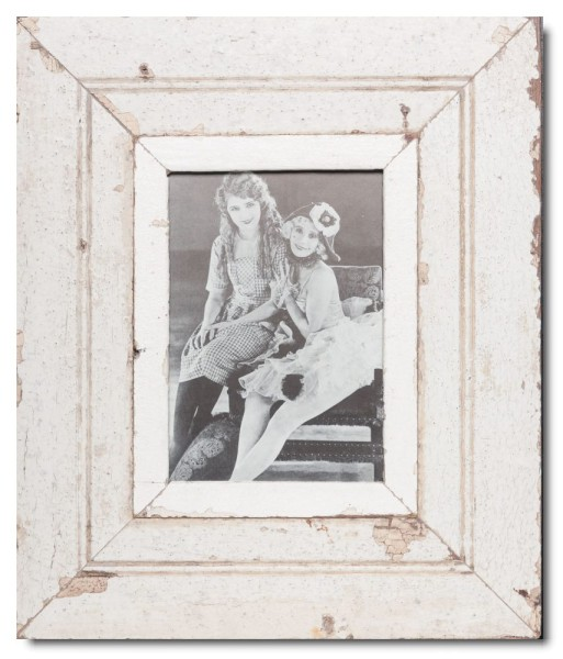 Wide distressed wooden picture frame for photo size 21 x 14,8 cm