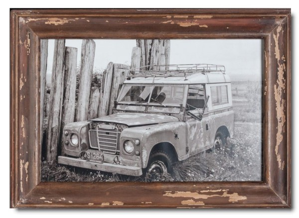 Basic distressed wooden frame square for photo format 25 x 38 cm
