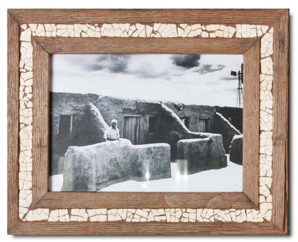 Ostrich eggshell mosaic reclaimed wood picture frame