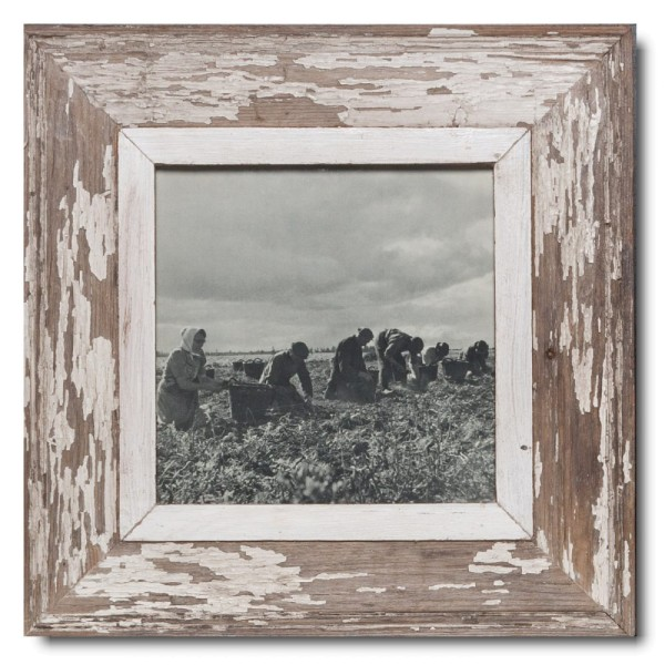 Square Reclaimed wood frame for picture format 21 x 21 cm