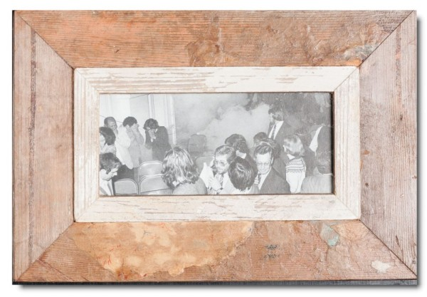 Panoramic reclaimed wood photo frame for picture format 2:1