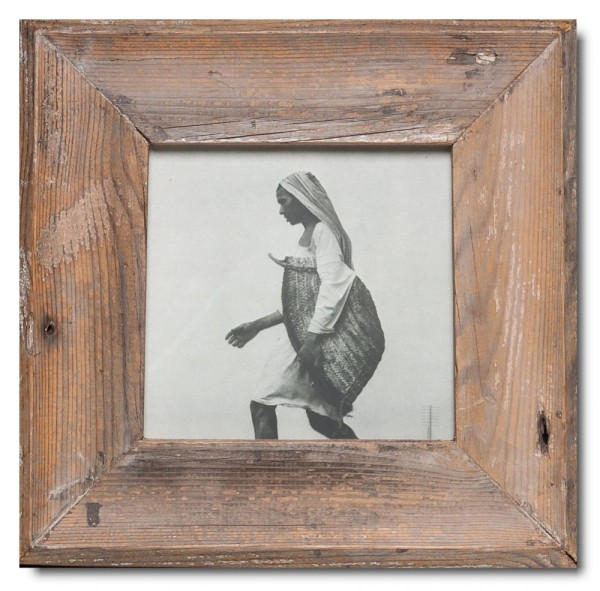 Square rustic timber picture frame for photo format 14,8 x 14,8 cm