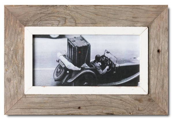 Panoramic reclaimed wood picture frame for picture size 29,7 x 14,8 cm