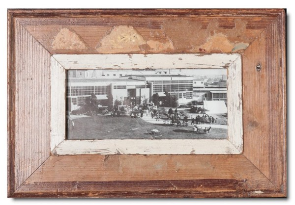 Panoramic distressed wooden frame square for picture size 21 x 10,5 cm