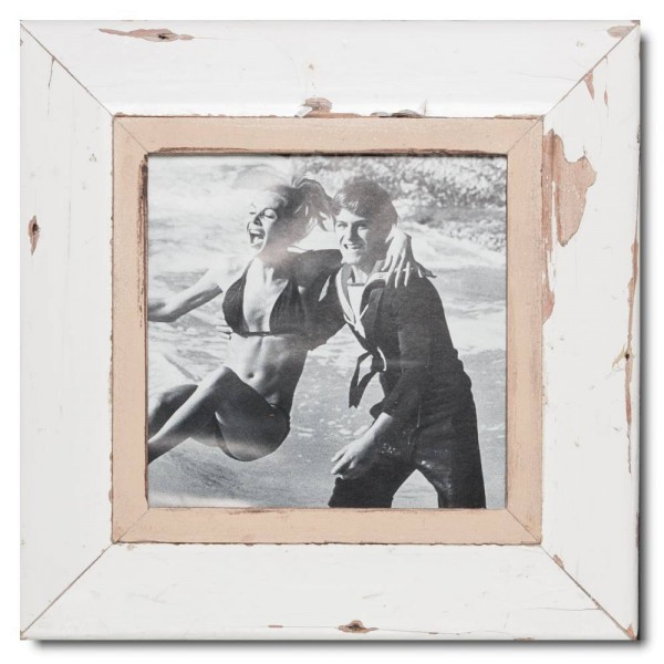 Square reclaimed wood picture frame for photo size A4 square