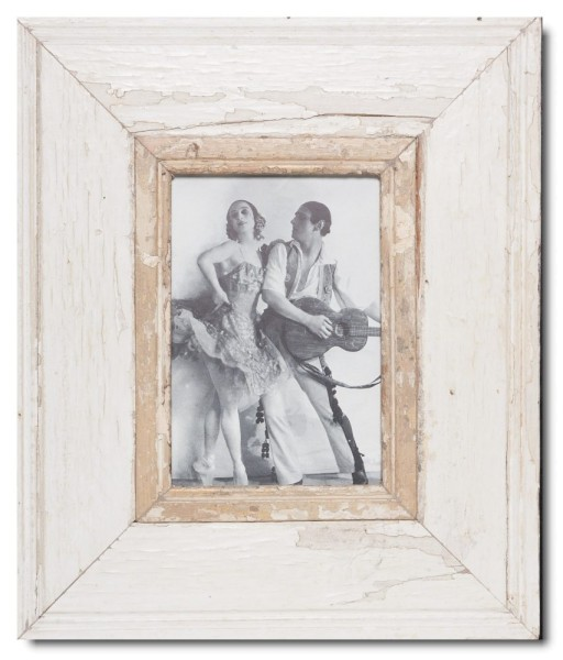 Wide reclaimed wood picture frame for photo format 21 x 14,8 cm