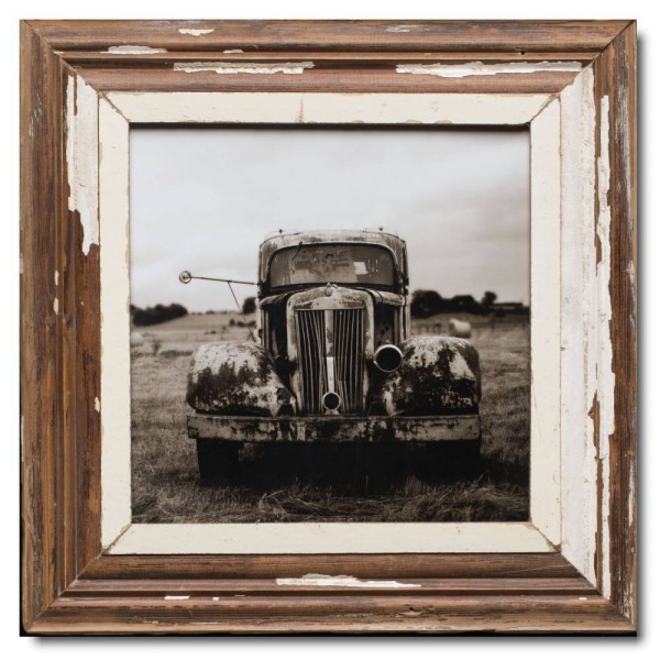 Square reclaimed wood picture frame for photo size A3 square