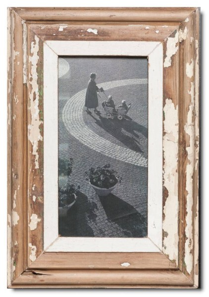 Panoramic rustic timber picture frame for photo format A4 panoramic