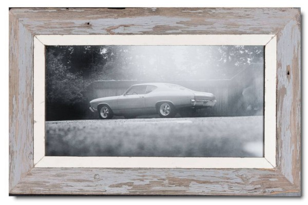 Panoramic rustic timber picture frame for photo format 42 x 21 cm