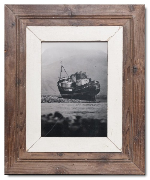 Wide Reclaimed wood frame for photo format 29,7 x 21 cm