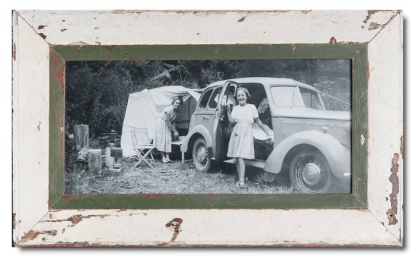 Panoramic distressed wooden frame square for photo format 42 x 21 cm