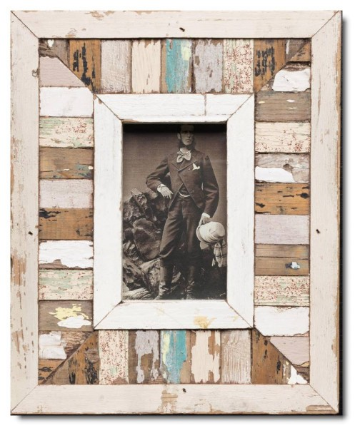 Mosaic rustic timber photo frame for picture format 14,8 x 10,5 cm