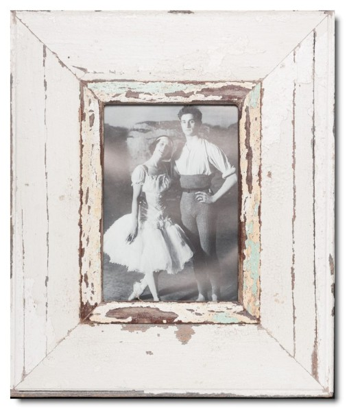 Wide distressed wooden frame square for picture size 21 x 14,8 cm