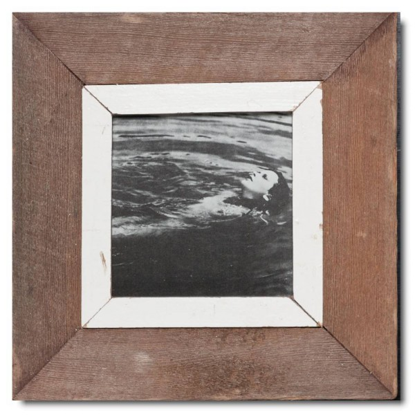 Square distressed wooden frame square for picture size 14,8 x 14,8 cm
