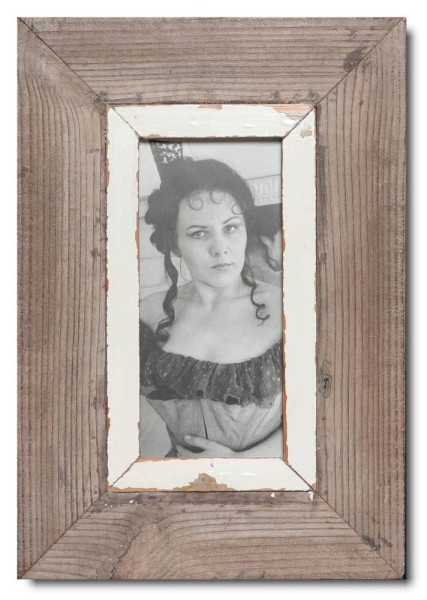 Panoramic reclaimed wood picture frame for picture format A5 panoramic
