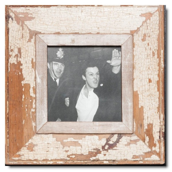 Square distressed wooden picture frame