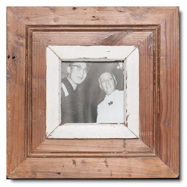 Square rustic timber photo frame for picture format A6 square