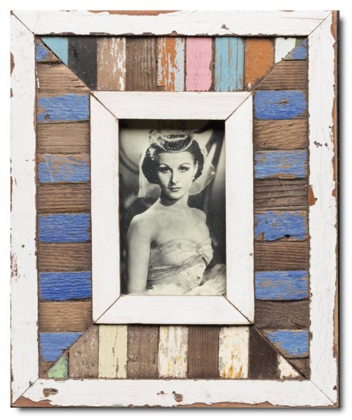 Mosaic distressed wooden frame square for picture size A6