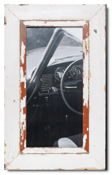 Panoramic reclaimed wood picture frame for photo size 2:1