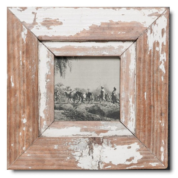 Square distressed wooden frame square for picture format A6 square