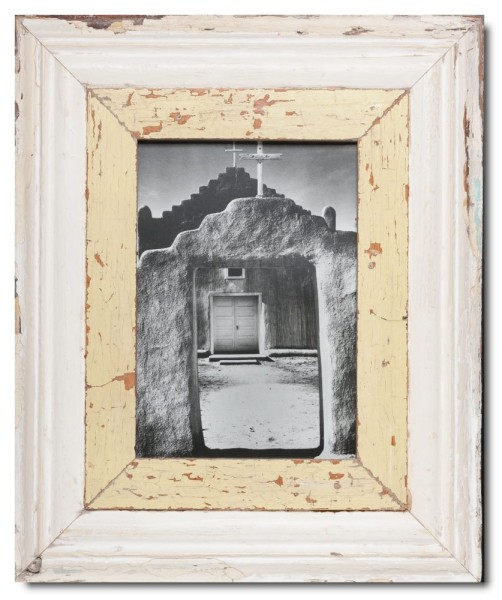 Wide distressed wooden picture frame for photo size 29,7 x 21 cm