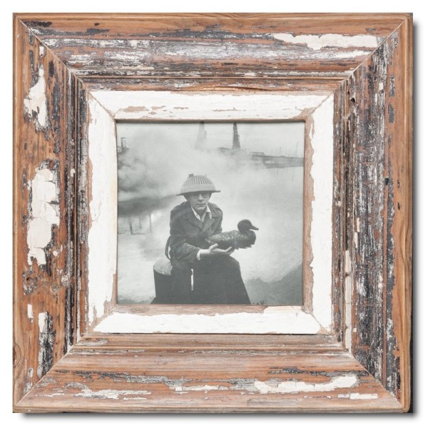Square distressed wooden picture frame for photo format A5 square
