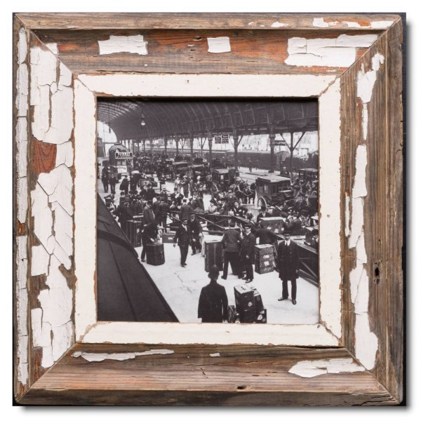 Square distressed wooden frame square for picture size 21 x 21 cm