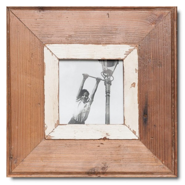 Square reclaimed wood photo frame for picture format 10,5 x 10,5 cm