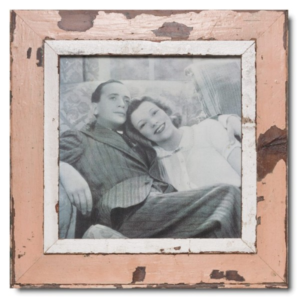 Square distressed wooden picture frame for picture size 29,7 x 29,7 cm