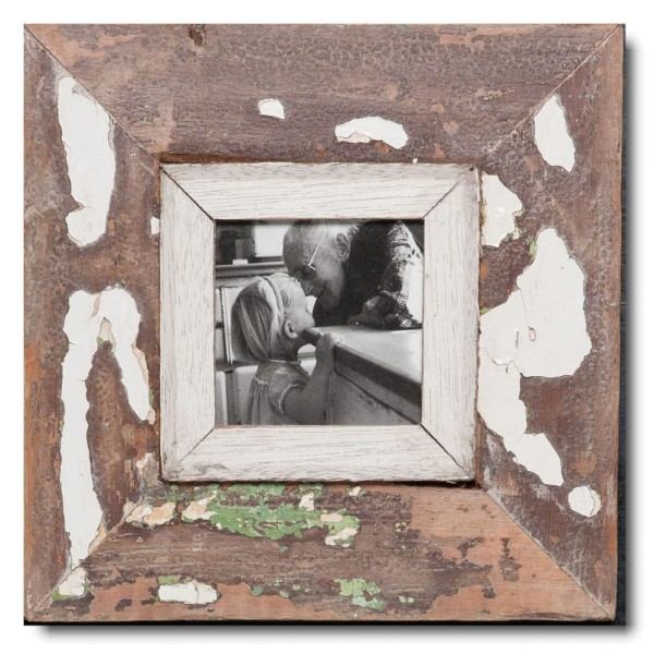Square distressed wooden picture frame for photo format A6 square