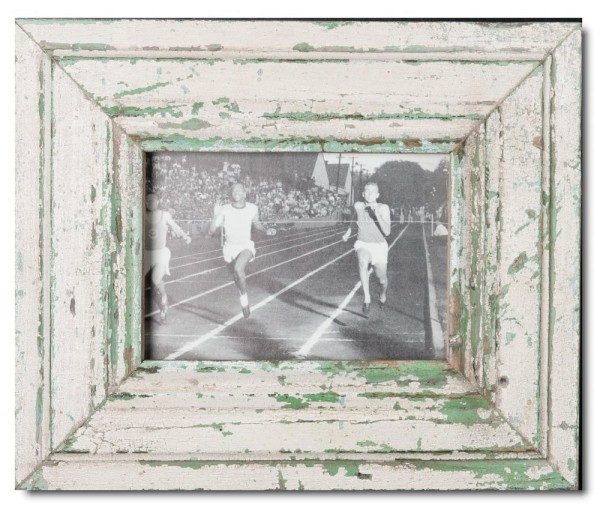 Wide distressed wooden picture frame for photo format 21 x 14,8 cm