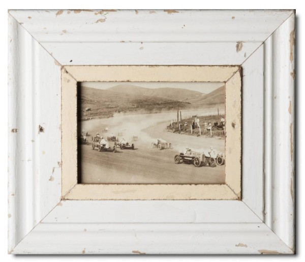 Wide distressed wooden picture frame for picture size 21 x 14,8 cm