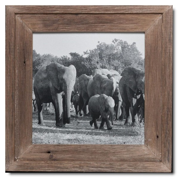 Square distressed wooden picture frame for photo size A3 square