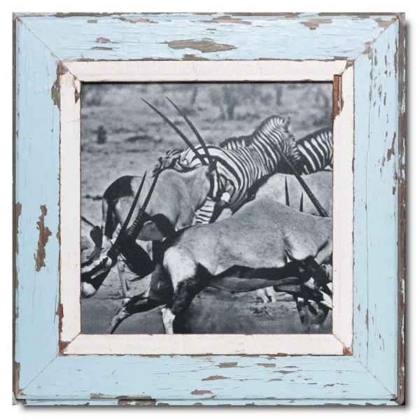 Square reclaimed wood photo frame for photo format 29,7 x 29,7 cm