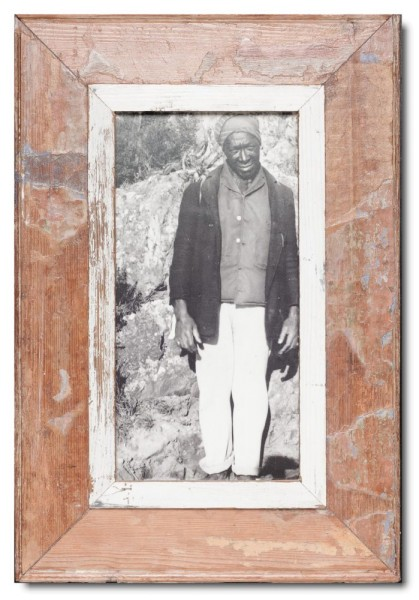 Panoramic distressed wooden picture frame for picture format A4 panoramic