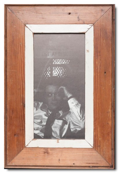 Panoramic distressed wooden picture frame for photo format A4 panoramic