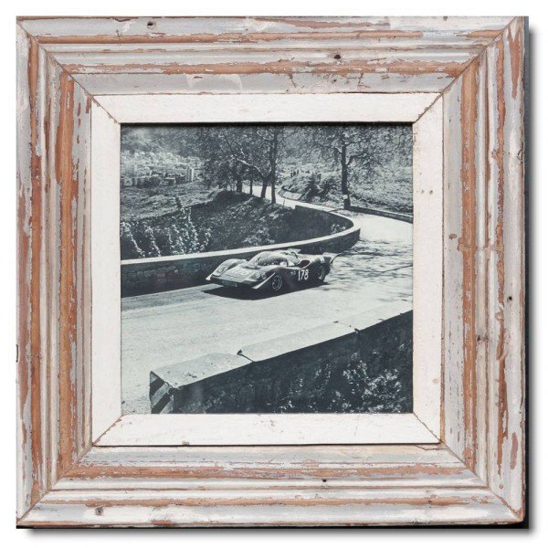 Square distressed wooden picture frame for picture format A4 square