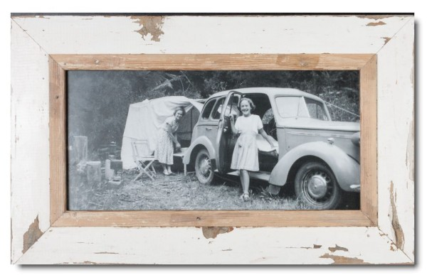Panoramic reclaimed wood photo frame for picture format 42 x 21 cm
